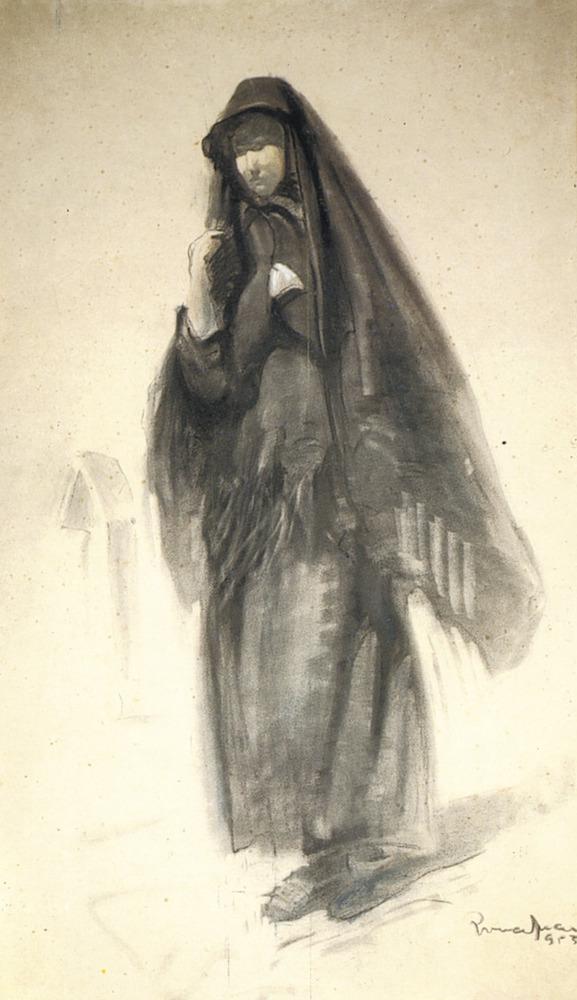 Un dibuix d´Antoni Pomar d´una figura de dona amb mantó negre.