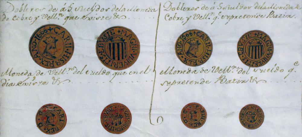 Moneda. A l´esquerra, dibuixos de les peces encunyades a Eivissa en temps de Carles II, encara en circulació l´any 1764; a la dreta, disseny de les monedes que aquell any es volien emetre. Cortesia de l´Arxiu Històric Municipal d´Eivissa.