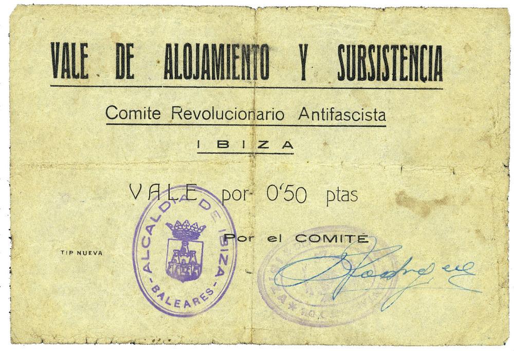 Paper moneda emès pel Comjitè de Milícies Antifeixistes durant la Guerra Civil Espanyola, que tengué una durada efímera. Cortesia de Neus Planells Molina.