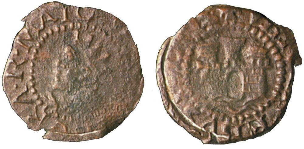 Moneda encunyada durant el regnat de Felip III. Al revers porta el castell de la Universitat sobre la mar. Foto: Extret de <em>Las monedas de los Austrias de la ceca de Evisa.</em>