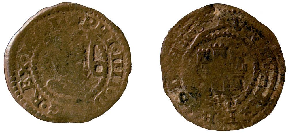 Moneda encunyada durant el regnat de Felip IV; al revers porta el castell de la Universitat sobre la mar. Foto: Extret de <em>Las monedas de los Austrias de la ceca de Evisa.</em>