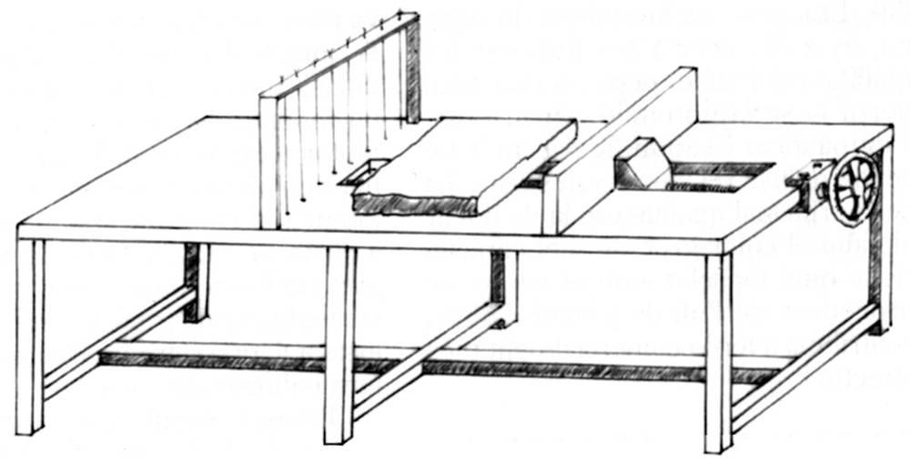 Màquina per tallar els pans de sabó en pastilles. Dibuix: Dionisio García Cueto.