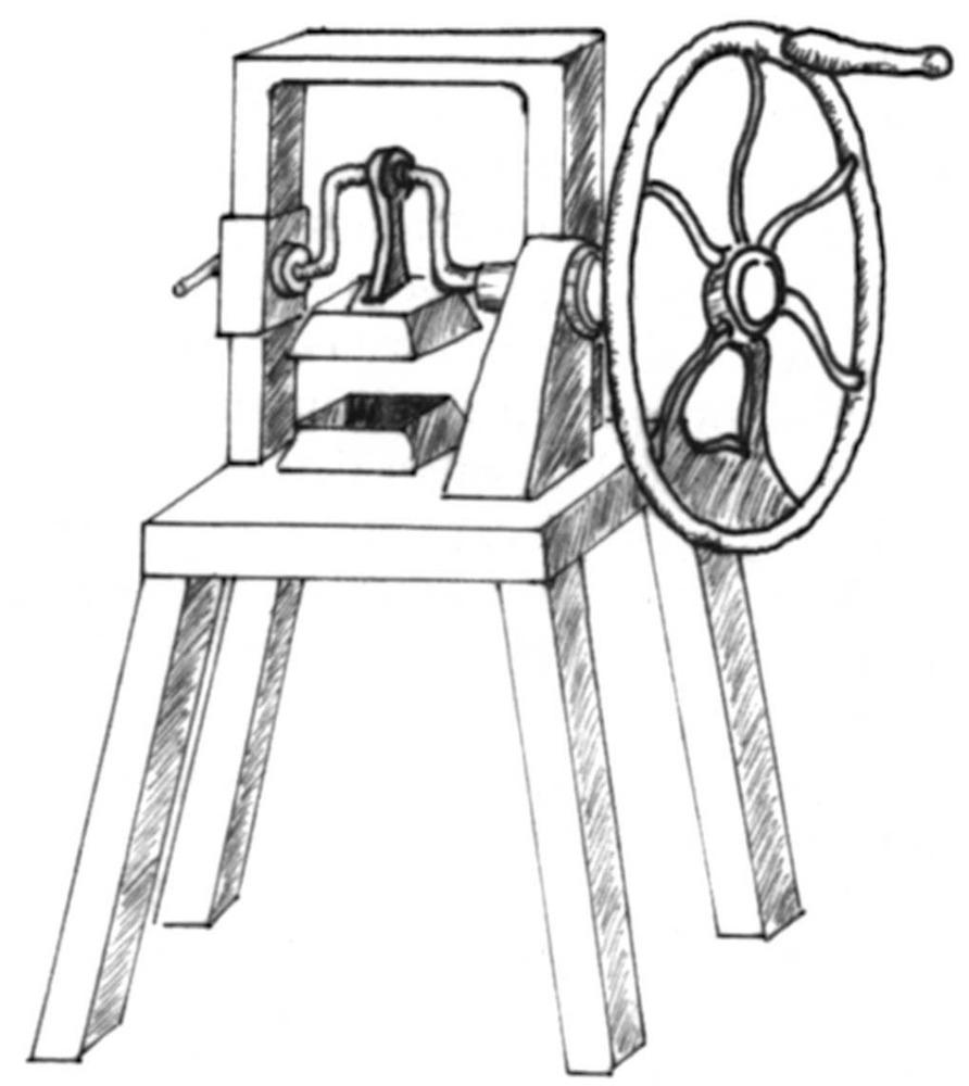 Màquina per encunyar pastilles de sabó. Dibuix: Dionisio García Cueto.