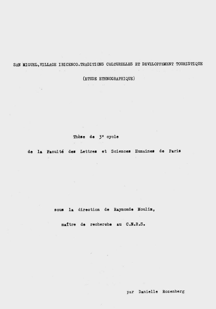 Sociologia. Portada de l´estudi etnogràfic de Danielle Rozenberg sobre el poble de Sant Miquel de Balansat (1974).
