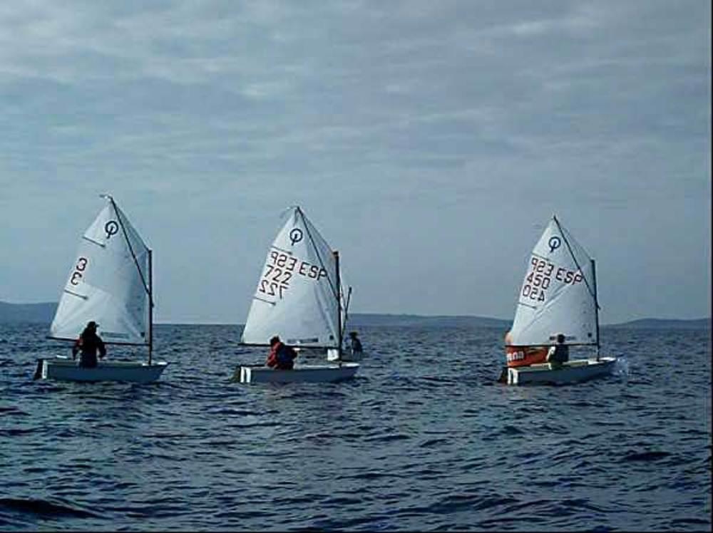 Quatre optimists en una regata de vela. Foto: arxiu de Sebastià Vidal.