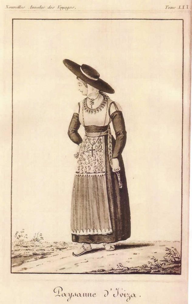 Vestit de gonella negra cenyida a la cintura a la manera antiga, sense mantó. Dibuix: J. Cambessèdes.