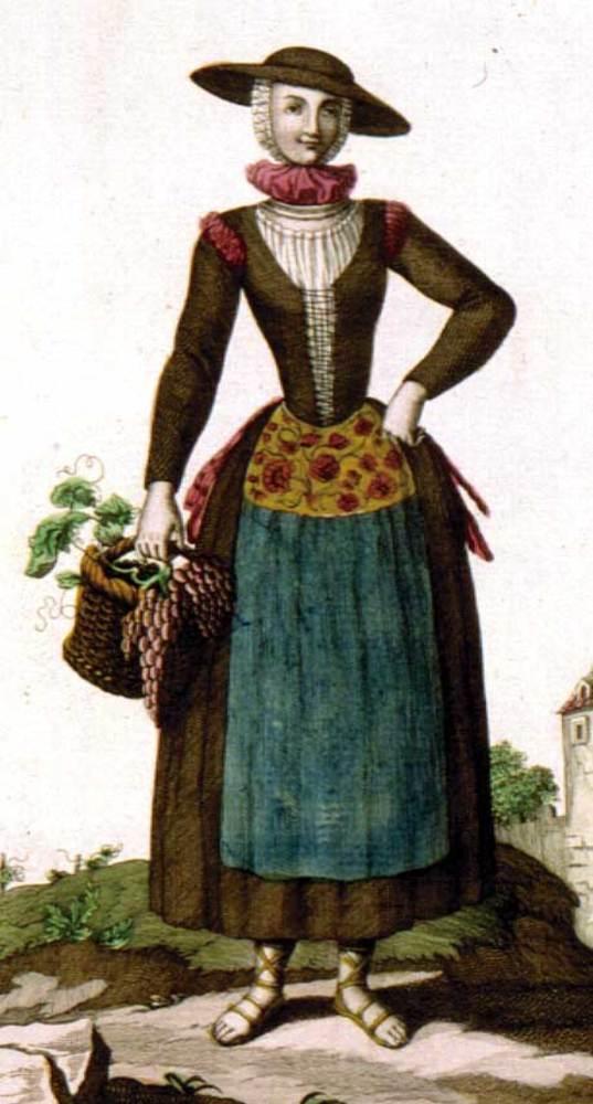 Vestit portat per la <em>Labradora ibicenca</em> al s. XVIII, segons dibuix de Juan de la Cruz.