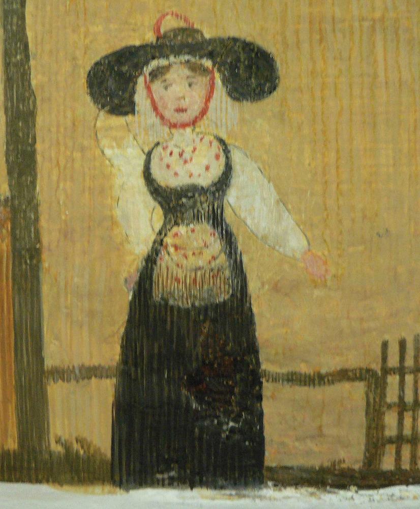 Vestit de gonella negra de principi del s. XIX que apareix als frisos pictòrics de l´església de Sant Miquel. Foto: Lena Mateu Prats.