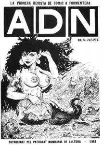 Portada d´un exemplar de la revista formenterera de còmic <em>ADN</em>.