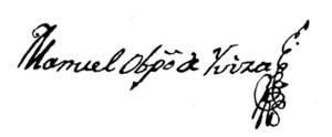 Facsímil d´una signatura de Manuel Abad y Lasierra, com a bisbe d´Eivissa.