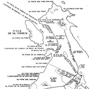 El camp de ses Albocoretes, a s´Espalmador, segons els mapes toponímics de Cosme Aguiló (<em>Mapa toponímic dels illots de les Pitiüses</em>).
