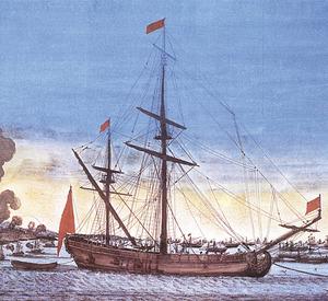 Bombardeig d´Alger per la flota espanyola (1784). Gravat en color. Biblioteca Nacional de París.