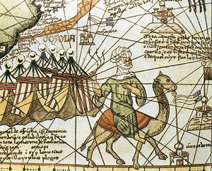 Els almoràvids que dirigia Ali ibn Ishaq ibn Muhammad ibn Ganiya devien semblar-se a aquest berber tret d´un detall de l´Atles català de Cresques Abraham. Biblioteca Central de Barcelona.