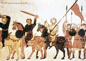 Exèrcits cristians del s. X, com els que combateren contra ´Ali ibn Yusuf ib Tasufin, segons una il·lustració de l´època.