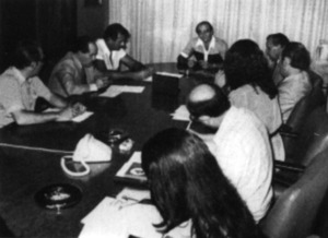 Membres de l´executiva d´Aliança Popular en una roda de premsa el 17 de setembre de 1982. Foto: Josep Buil Mayral / <em>Diario de Ibiza</em>.