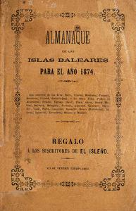 Portada de l´Almanaque Balear, de 1874.