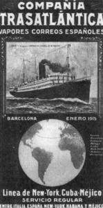 Cartell publicitari de 1915 que anunciava viatges a Amèrica.