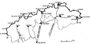Mapa des Amunts, on es poden observar els límites d´aquesta comarca.