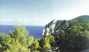 Es Amunts. La costa de ses Balandres, a Corona, amb la punta d´en Petroeli i es Castellar, al fons. Foto: J. Amengual / <em>Guía de la naturaleza de Eivissa y Formentera</em>.