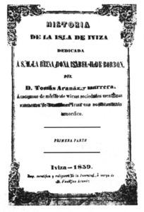 Portada de la <em>Historia de la isla de Iviza</em>, de Tomàs Aranaz i Barrera.