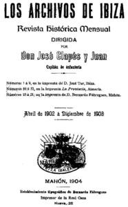 Portadeta interior del volum que conté tots els exemplars de la primera època de <em>Los Archivos de Ibiza</em>.