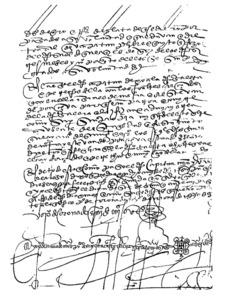Mart&iacute;n de Arego. &Uacute;ltim full de l´inventari de la galera <em>Envidia</em> (original a l´Arxiu de Simancas).
