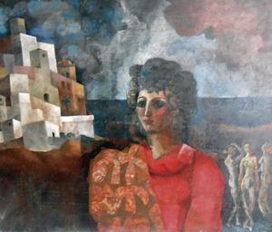 Una obra d´Eduard Arranz Bravo presentada a la Biennal d´Eivissa de 1964: <em>Sense títol</em>, oli sobre tela, 100 x 82 cm, de la col·lecció del Musseu d´Art Contemporani d´Eivissa. Foto: Adrià Cardona.