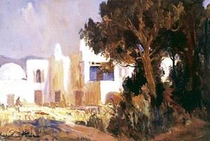 Casa dels Artistes. <em>Ibiza impression Casa Dudek</em>, oli sobre tela, 27 x 41 cm., del pintor Karel Hodr.