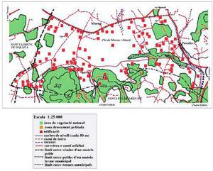 Mapa de la vénda d´Atzaró, del poble de Sant Carles de Peralta. Elaboració: Josep Antoni Prats Serra.