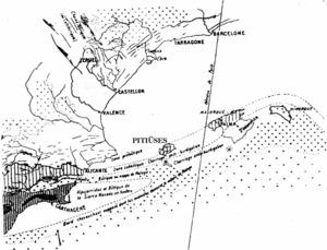 Posició de les Balears en relació amb les grans unitats estructurals de les Bètiques, segons el professor Fallot.