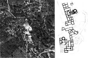 Balàfia. Vista aèria i plànol del poblat. Extret de <em>Guía de la Arquitectura de Ibiza y Formentera.</em>
