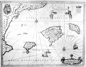 El mar Balear entorn a les illes, segons Jean Blaeu, <em>Le grand Atlas ou cosmographie blaviane</em>, Amsterdam (1667).