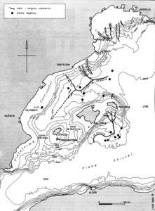 Mar Balear. Mapa extret del llibre <em>Geografia f&iacute;sica dels Pa&iuml;sos Catalans</em>, Ketres, Barcelona, 1976.