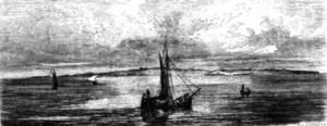 Die Balearen. Formentera, vista per l´arxiduc. A la dreta hi ha el cap de Barbaria, a l´esquerre s´Espalmador, i al centre la suau ondulació de la Miranda, amb l´església de Sant Francesc Xavier. Extret de <em>Les Antigues Pitiüses</em>.
