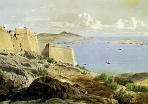 Die Balearen. Bocana del port d´Eivissa, amb les illes Plana, Grossa i des Botafoc, amb el far recentment construït. En primer terme, destacats, el baluart de Santa Tecla i es Revellí. Extret de <em>Les Antigues Pitiüses</em>.