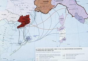 Illes Balears. La taifa de les Balears i la Mediterr&agrave;nia occidental a principi del s. XII. Extret d<em>e </em>Di&agrave;fora. <em>Atles de les Illes Balears</em>.