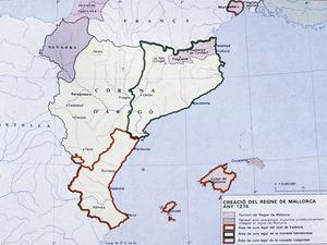 Illes Balears. Creaci&oacute; del Regne de Mallorca (1276). Extret d<em>e </em>Di&agrave;fora. <em>Atles de les Illes Balears</em>.