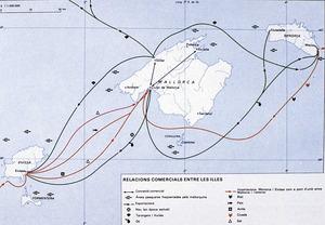 Illes Balears. Relacions comercials entre les illes. Extret d<em>e </em>Diàfora. <em>Atles de les Illes Balears</em>.