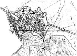 Joan Ballester de Zafra. Plànol de la plaça d´Eivissa i els seus voltants (1738). Cortesia de l´Ajuntament d´Eivissa, secció d´Obres.