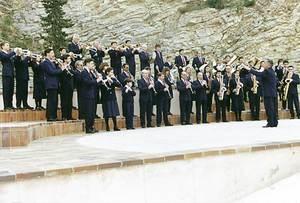 Banda Municipal de Música d´Eivissa. Una fotografia de l´any 1995, fetea a l´auditori del Parc de la Reina Sofia, d´Eivissa. Foto: cortesia del Patronat Municipal de Música d´Eivissa.