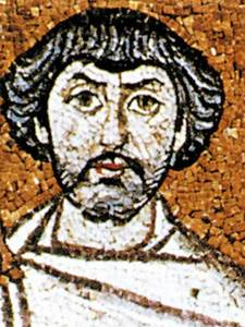 Belisari. Detall d´un mosaic de l´absis de la basílica de Sant Vital (Ravenna). Devers el 540 dC.
