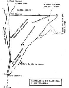 Mapa de l´antiga cavalleria de Labritja i Benissomada. Elaboració: Joan Marí Cardona / extret de la revista <em>Eivissa</em>.