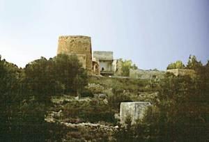 Detall d´una casa pagesa, ja arruïnada, amb torre, de la vénda des Bernats. Foto: Josep Antoni Prats Serra / Enric Ribes i Marí.