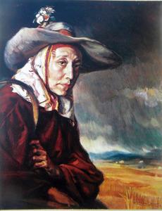 Retrat d´una dona, obra del pintor Ismael Blat i Monzó.