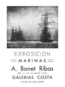Cartell anunciador d´una exposició del pintor Antoni Bonet Ribas a les galeries Costa de Palma.