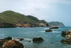A l´esquerra de la imatge, la costa de davall na Borda vista des de la punta de s´Illa d´Encalders. Foto: Enric Ribes i Marí.