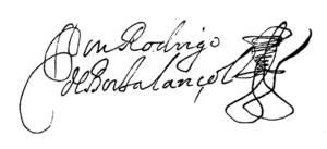 Signatura autògrafa de Roderic de Borja-Llançol de Romaní i Olivera.