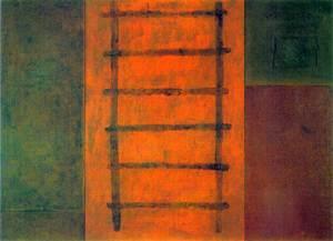 <em>La escalera</em>, una obra de Manuel Bouzo Bouzas (1989, tècnica mixta, 158 x 217, trìptic, col·lecció particular). Foto: Jorge Ganio.