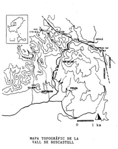 Mapa topogràfic de la vall de Buscastell. Foto: MAR/MBP/HKG/CNR.