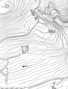 Les pallisses de Cala d´Hort. Plànol topogràfic general del conjunt arqueològic. A: edifici A; B: edifici B; C: necrpopolis púnica; D: necròpolis tardoantiga. Elaboració: Joan Ramon Torres / J. M. López Garí.